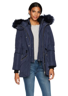 Mackage Women's Katryn Hip Length Classic Down Jacket with Fur Hood  L