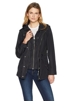 Mackage Women's Melita-R Hooded Water Repellent Jersey Lined Rain Jacket  L