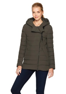 Mackage Women's Tristin Lux Light Weight Down Jacket with Asymmetrical Zip  M