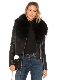 Mackage Yoana Leather Jacket With Raccoon Fur