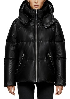 Mackage Miley Leather Puffer Coat w/ Detachable Hood
