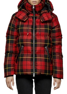 Mackage Miley Plaid Puffer Coat w/ Detachable Hood