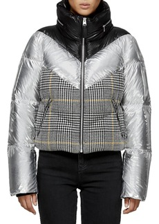 Mackage Mini Houndstooth & Metallic Cropped Down Jacket