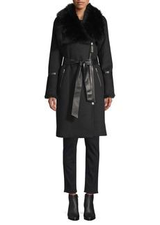 Mackage Nerea-NW Sheepskin Belted Wool Coat