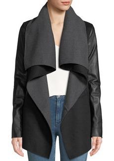 Mackage Vane Wool-Blend Coat w/ Leather Sleeves