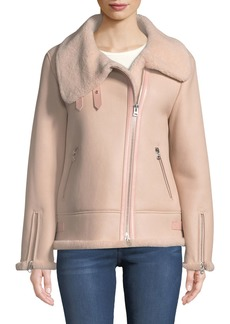 Mackage Zip-Up Sheepskin Fur Moto Jacket