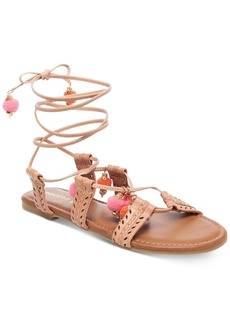 Madden Girl Bailee Lace-Up Pom-Pom Sandals Women's Shoes
