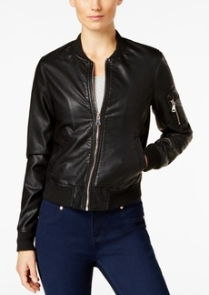 Madden Girl Faux-Leather Bomber Jacket