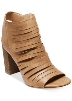 Madden Girl Halo Peep-Toe Block-Heel Booties Women's Shoes