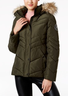 Madden Girl Juniors' Faux-Fur-Trim Hooded Puffer Coat, A Macy's Exclusive