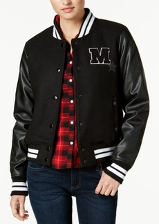 Madden Girl Juniors' Faux-Leather-Sleeve Bomber Jacket, Created for Macy's