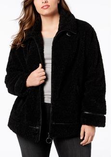 Madden Girl Juniors' Plus Size Faux-Fur Teddy Coat