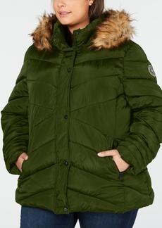 Madden Girl Juniors' Plus Size Faux-Fur-Trim Hooded Puffer Coat