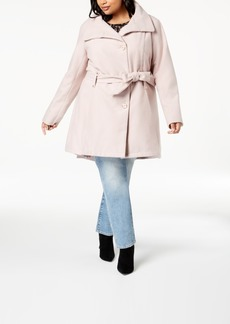 Madden Girl Juniors' Plus Size Stand-Collar Walker Coat