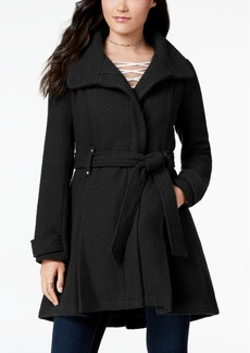 Madden Girl Juniors' Textured Belted Wrap Coat