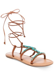 Madden Girl Kalipsoo Lace-Up Embellished Sandals Women's Shoes