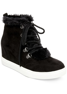 Madden Girl Pulley Faux-Fur Wedge Sneakers