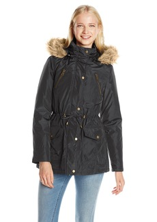 Madden Girl Women's Anorak Parka With Faux Fur Trim Hood