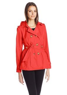 Madden Girl Women's Double Breasted Medium Length Hooded Trench Coat