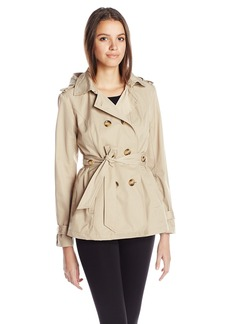 Madden Girl Women's Double Breasted Medium Length Hooded Trench Coat