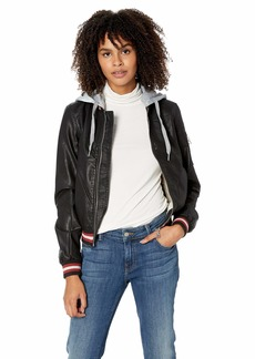 Madden Girl Women's Faux Leather Bomber Jacket  L