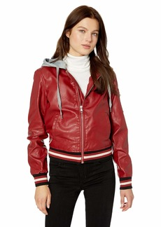 Madden Girl Women's Faux Leather Bomber Jacket Varsity Style red XL