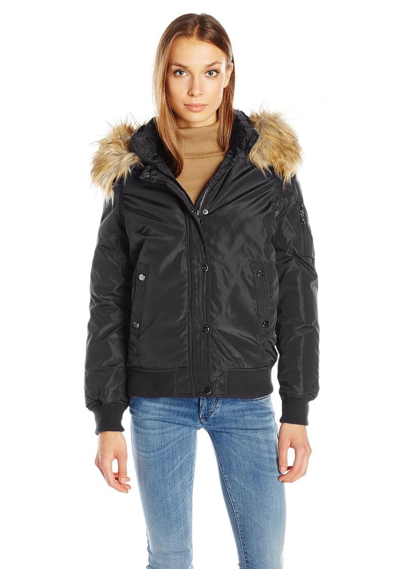 Madden Girl Women's Hooded Bomber Jacket