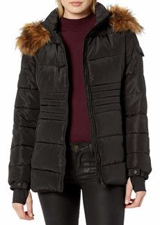 Madden Girl Women's Nylon Puffer Jacket as Black S