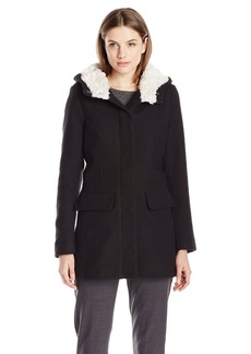 Madden Girl Women's Wool Coat with Sherpa Lining