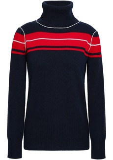 Madeleine Thompson Woman Satyr Striped Wool And Cashmere-blend Turtleneck Sweater Midnight Blue