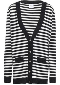 Madeleine Thompson Woman Serpentine Striped Wool And Cashmere-blend Cardigan Charcoal