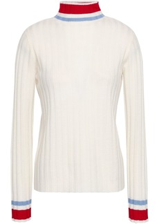 Madeleine Thompson Woman Striped Ribbed Wool And Cashmere-blend Turtleneck Sweater Off-white