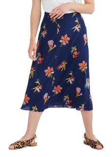 Madewell Bird of Paradise Atrium Silk Midi Skirt