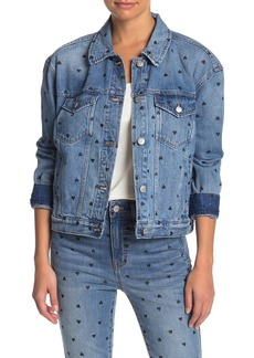 Madewell Boxy Crop Heart Print Denim Jacket
