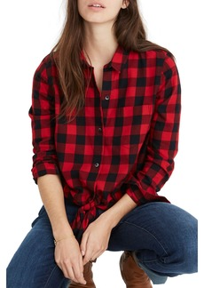 Madewell Buffalo Check Tie Front Flannel Shirt
