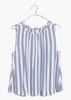 Button-Back Top in Indigo Stripe