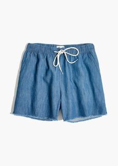 Chambray Raw-Hem Pull-On Shorts