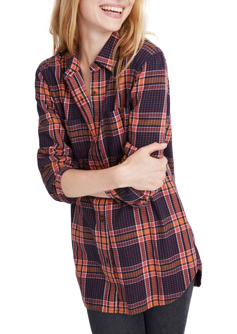 Madewell Edith Plaid Flannel Classic Ex-Boyfriend Shirt