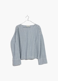 Madewell Convertible Cold-Shoulder Top in Chambray Stripe