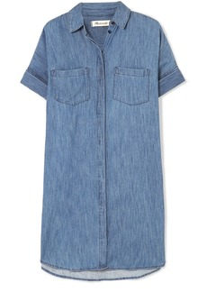 Courier cotton and linen-blend chambray shirt dress