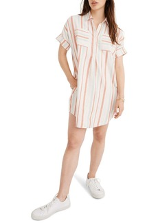 Madewell Courier Stripe Linen & Cotton Popover Dress
