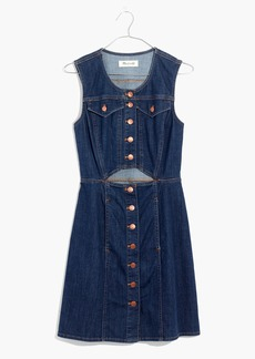 Denim Button-Front Cutout Dress