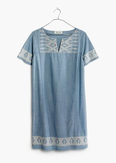 Embroidered Chambray Tunic Dress