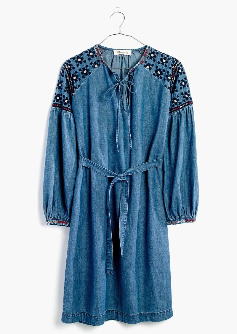 Madewell Embroidered Denim Tealeaf Dress