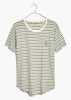 Madewell Embroidered This or That Whisper Cotton Crewneck Tee in Stripe