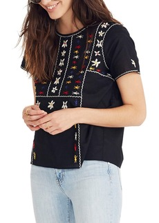 Madewell Embroidered Tie Back Cutout Top