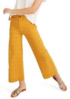 Madewell Emmett Windowpane Crop Wide Leg Pants
