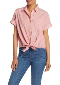 Madewell End On End Tie Front Button Down Tee