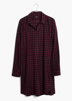 Flannel Side-Button Shirtdress in Jensen Plaid