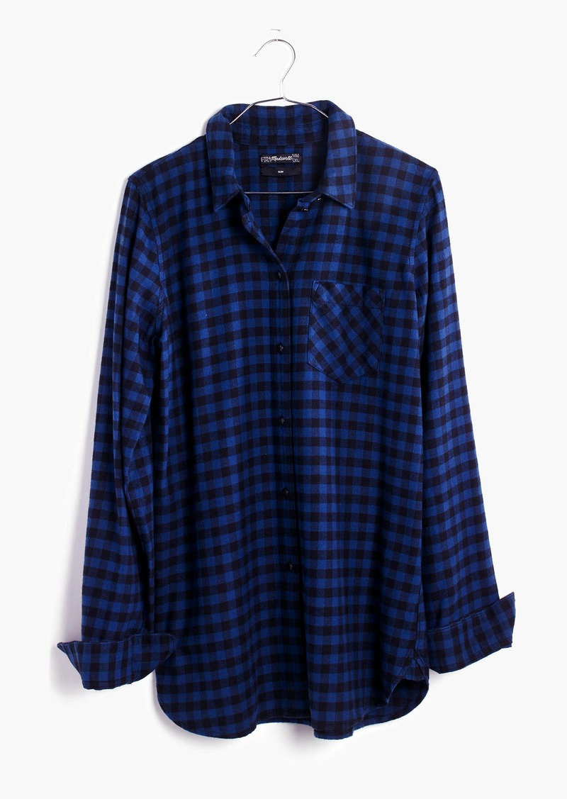 Madewell Flannel Slim Ex-Boyfriend Shirt in Gingham Check